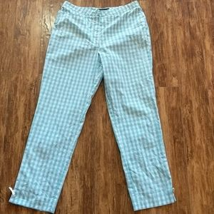 Cambio Blue and White Gingham Ankle Pants 10
